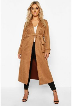 Camel beige Plus Soft Faux Suede Trench Coat