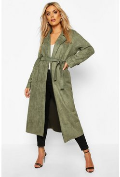 Khaki Plus Soft Faux Suede Trench Coat