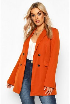 Rust orange Plus Woven Double Breasted Tailored Blazer