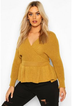 Mustard Plus Knitted Wrap Peplum Jumper