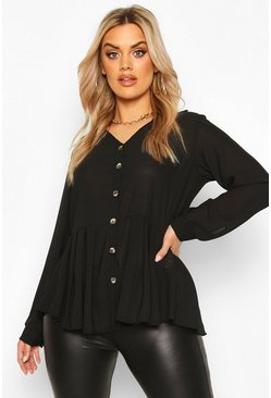 Black Plus Pleated Button Detail Peplum Shirt