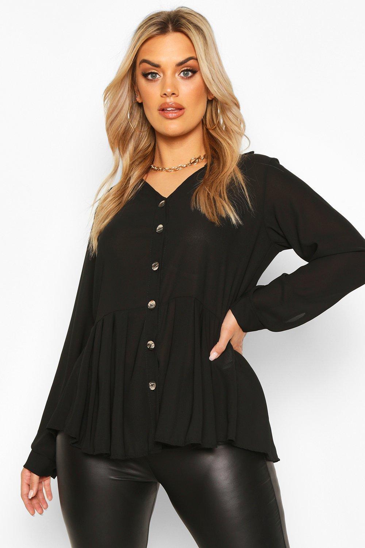 Plus Pleated Button Detail Peplum Shirt 6