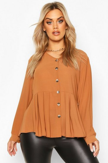Chocolate brown Brown Plus Pleated Button Detail Peplum Shirt