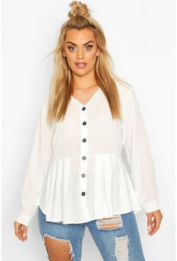 Ivory white Plus Pleated Button Detail Peplum Shirt