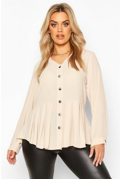 Chocolate beige Plus Pleated Button Detail Peplum Shirt
