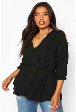 Black Plus Ruffle Detail Wrap Peplum Blouse