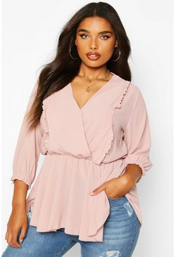 Blush pink Plus Ruffle Detail Wrap Peplum Blouse