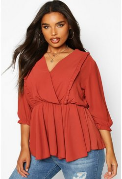 Terracotta orange Plus Ruffle Detail Wrap Peplum Blouse