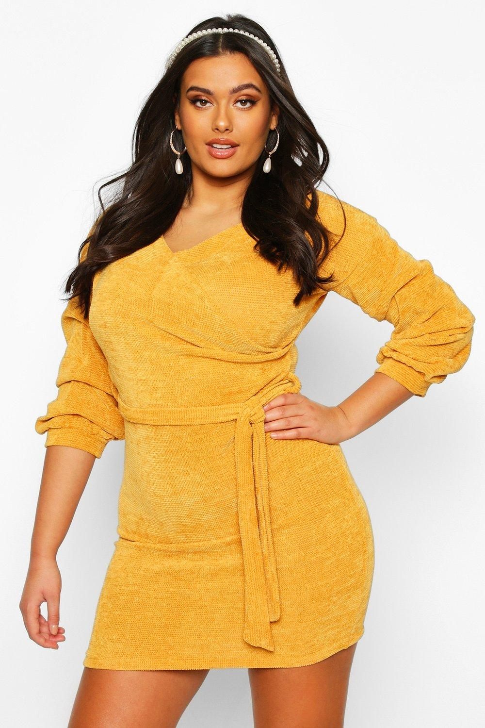 Plus Knitted Ruched Sleeve Wrap Dress 8