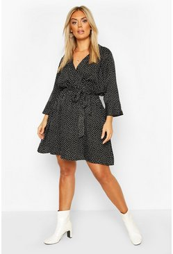 Black Plus Ruffle Polka Dot Wrap Dress