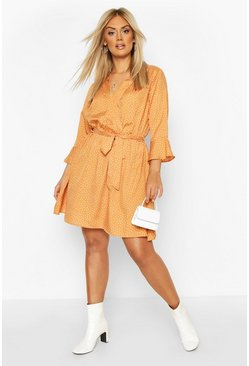 Camel beige Plus Ruffle Polka Dot Wrap Dress