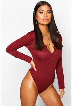 Berry red Petite Jumbo Rib Notch Detail Long Sleeve Bodysuit