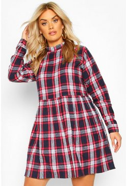 Navy Plus Check High Neck Smock Dress
