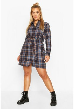 Navy Plus Check Belted Oversized Shirt Dress