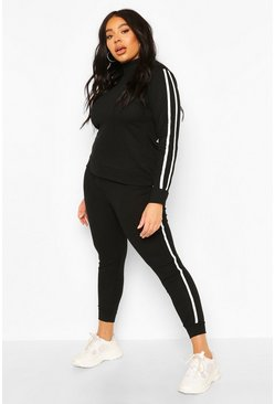 Black Plus Soft Rib Stripe Top + Legging Lounge Set
