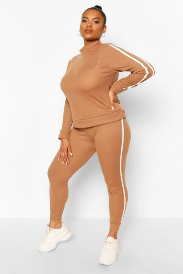 Camel beige Plus Soft Rib Stripe Top + Legging Lounge Set