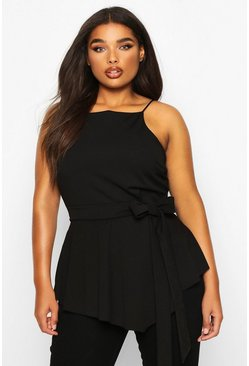 Black Plus Crepe Tie Front Asymmetric Top
