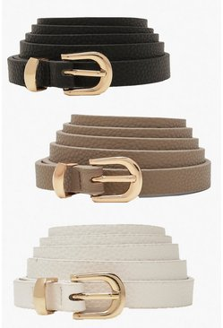 Black Plus Skinny Belts 3 Pack