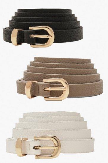 Black Plus Skinny Belts 3 Pack