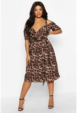 Brown Plus Leopard Ruffle Wrap Midi Dress