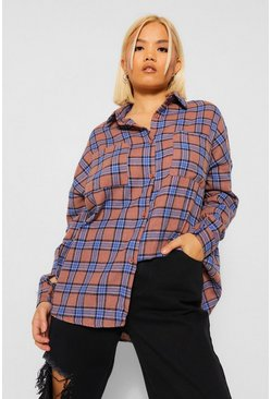 Tan brown Petite Check Oversized Shirt