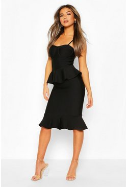 Black Petite Peplum Fishtail Bandage Midi Dress