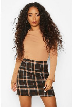 Chocolate brown Petite Check A-Line Mini Skirt