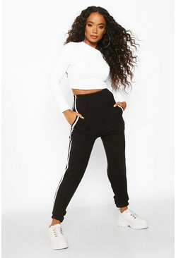 Black Petite Side Stripe Boyfriend Joggers