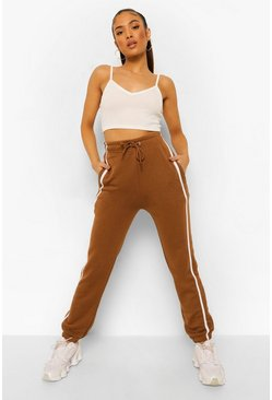 Chocolate brown Petite Side Stripe Boyfriend Joggers