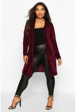 Berry Plus Velvet Burnout Stripe Belted Duster