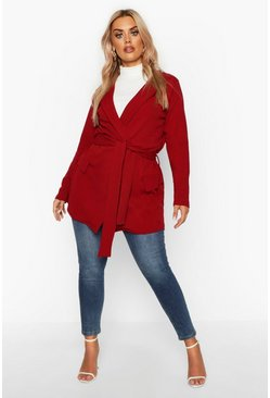 Berry red Plus Belted Tie Blazer