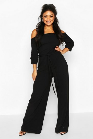 Black Plus Off Shoulder Tailored Self Belt Jumpsuit