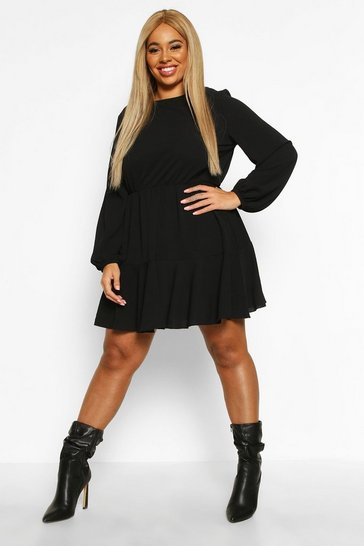Black Plus Long Sleeved Tiered Woven Smock Dress