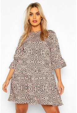 Stone beige Plus Smudge Print Ruffle Sleeve Smock Dress