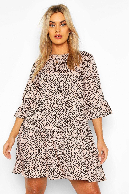 Plus Smudge Print Ruffle Sleeve Smock Dress 7