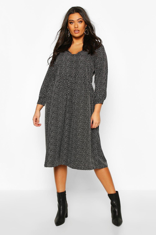 Plus Spotty V Neck Midi Dress 7