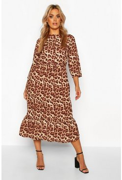 Brown Plus Leopard Ruffle Hem Midi Dress
