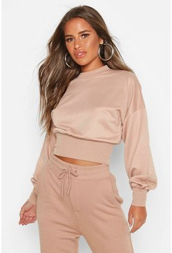 Stone beige Petite Balloon Sleeve Sweat Top