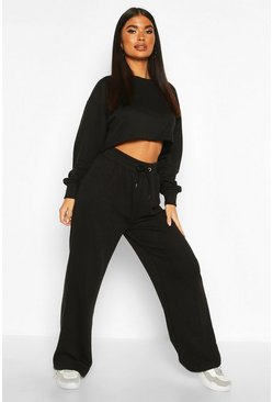 Black Petite Crop Sweat and Jogger Loungewear Set