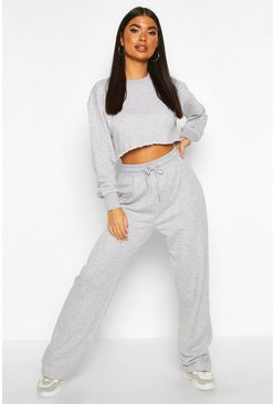 Grey Petite Crop Sweat and Jogger Loungewear Set