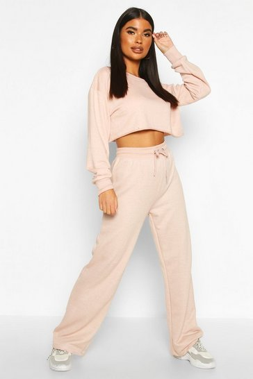 Taupe beige Petite Crop Sweat and Jogger Loungewear Set