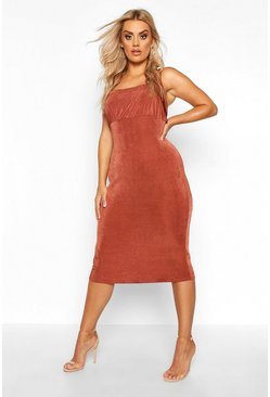 Chocolate Plus Ruched Bodice Textured Slinky Midi Dress