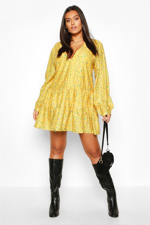 Plus Ditsy Floral V-Neck Tiered Smock Dress 7
