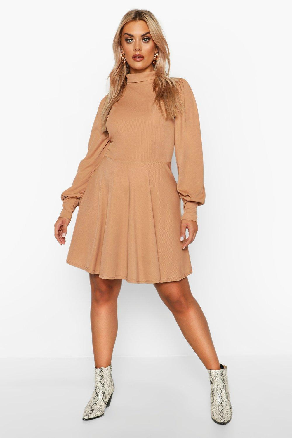 Plus Balloon Sleeve High Neck Skater Dress 17