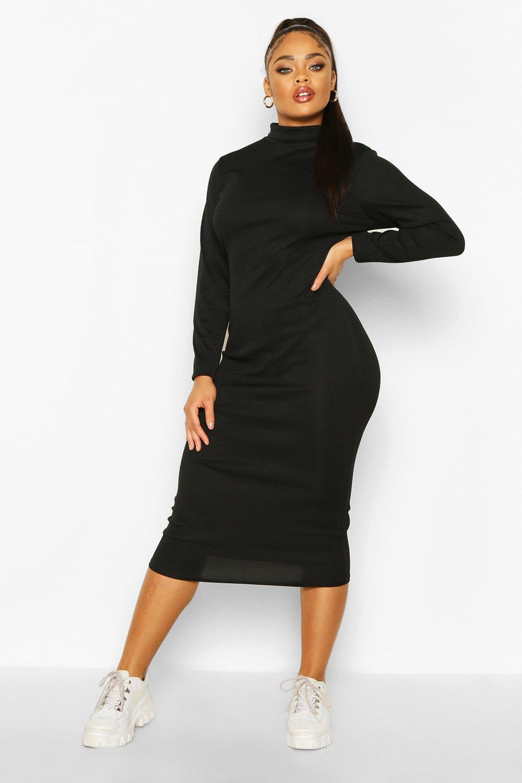 Plus Size Dresses Plus Rib Knit Roll Neck Midi Dress