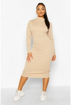 Stone beige Plus Rib Knit Roll Neck Midi Dress