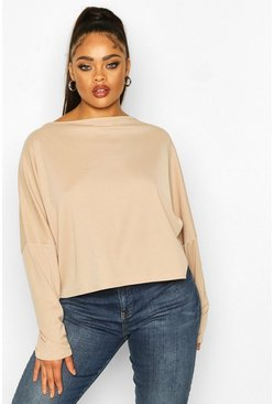 Stone beige Plus Soft Rib Batwing Sleeve Top