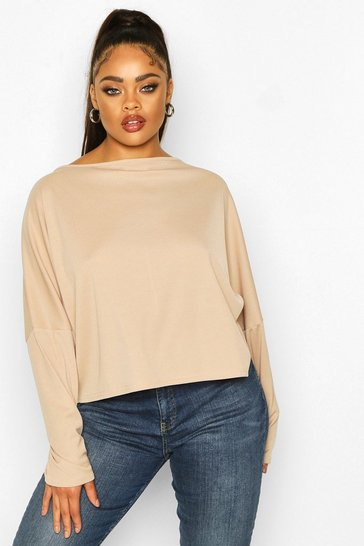 Stone Plus Soft Rib Batwing Sleeve Top