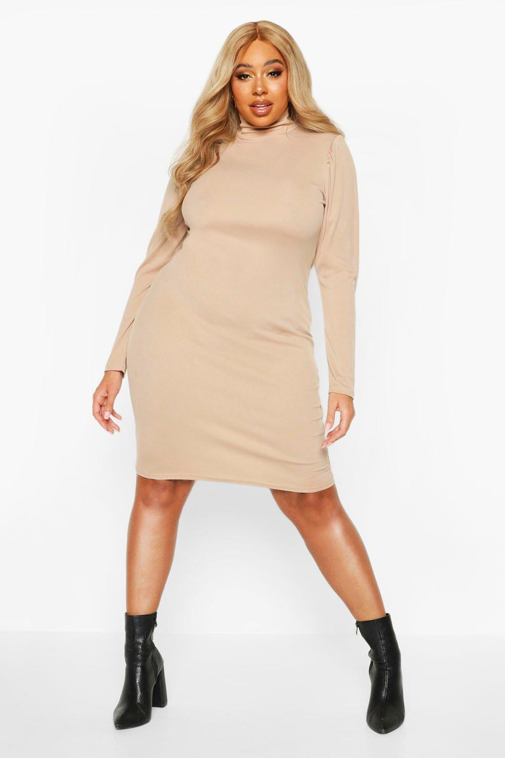 Plus Soft Rib High Neck Puff Sleeve Mini Dress 6