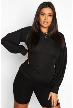 Black Plus Soft Rib Balloon Sleeve Crew Neck Top